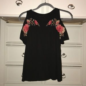 Women's AE Black Shirt With Shoulder Cut Out